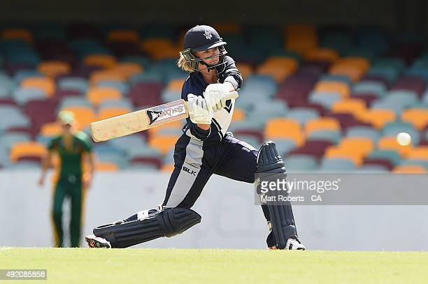 Danni Wyatt of the Spirit bats during the round one WNCL match between Victoria and Tasmania at Allan Border Field on October 10 2015 in Brisbane...