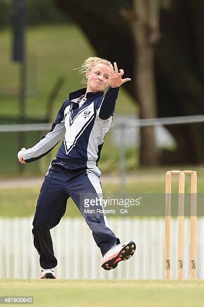 Danni Wyatt of the Spirit bowls during the round one WNCL match between Queensland and Victoria at Allan Border Field on October 9 2015 in Brisbane...