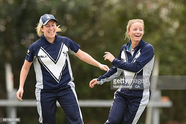 Danni Wyatt of the Spirit celebrates a wicket during the round one WNCL match between Queensland and Victoria at Allan Border Field on October 9 2015...
