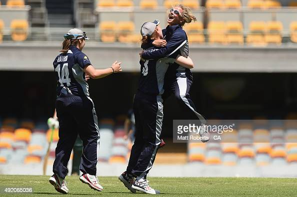 Danni Wyatt of the Spirit celebrates a wicket during the round one WNCL match between Victoria and Tasmania at Allan Border Field on October 10 2015...