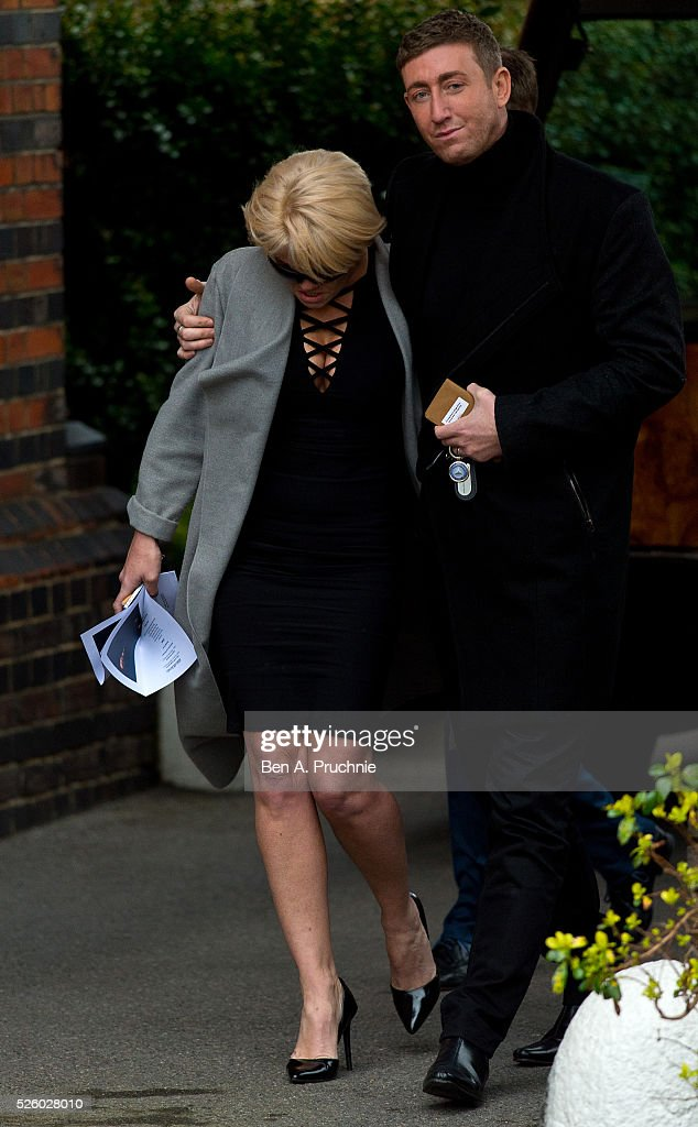Danniella Westbrook and Christopher Maloney attend the funeral of entertainer, producer and reality television star David Gest at Golders Green Crematorium on April 29, 2016 in London, England.