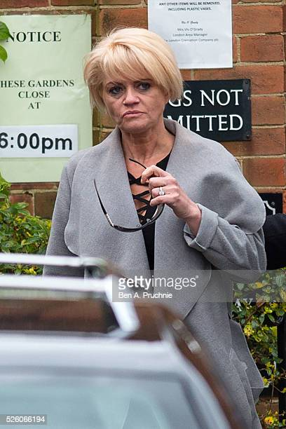 Danniella Westbrook attends the funeral of entertainer producer and reality television star David Gest at Golders Green Crematorium on April 29 2016...