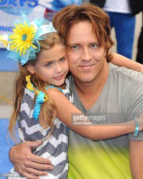 Dannielynn Birkhead and Larry Birkhead arrivies at the 'Smurfs 2' Los Angeles Premiere at Regency Village Theatre on July 28 2013 in Westwood...