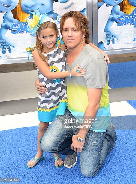 Dannielynn Birkhead and Larry Birkhead attend the premiere of Columbia Pictures' 'Smurfs 2' at Regency Village Theatre on July 28 2013 in Westwood...
