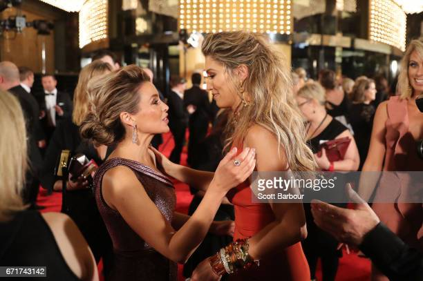 Dannii Minogue and Delta Goodrem arrive at the 59th Annual Logie Awards at Crown Palladium on April 23 2017 in Melbourne Australia