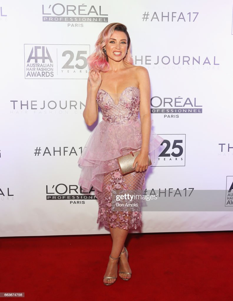 Dannii Minogue arrives at the 2017 Australian Hair Fashion Awards at Luna Park on April 2, 2017 in Sydney, Australia.