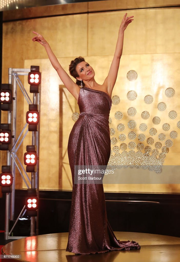 Dannii Minogue arrives at the 59th Annual Logie Awards at Crown Palladium on April 23, 2017 in Melbourne, Australia.