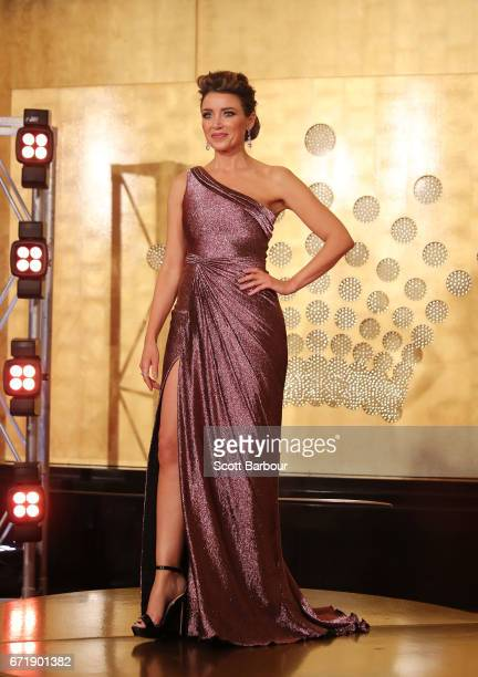 Dannii Minogue arrives at the 59th Annual Logie Awards at Crown Palladium on April 23 2017 in Melbourne Australia