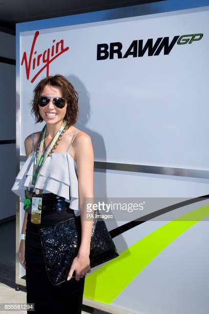 Dannii Minogue in the Brawn GP garage prior to the Australian Grand Prix at Albert Park Melbourne Australia
