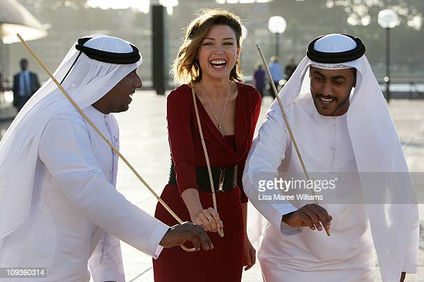 Dannii Minogue is welcomed on arrival at the official party to celebrate V Australia and Etihad Airways inaugural Abu Dhabi flight at the Sydney...