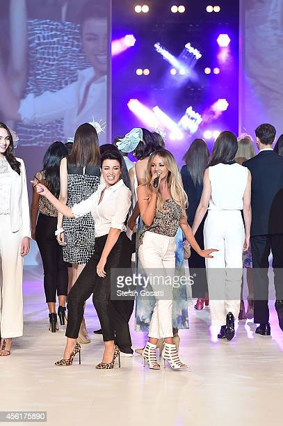 Dannii Minogue joins Samantha Jade as she performs on the runway at the Target show during MercedesBenz Fashion Festival Sydney at Sydney Town Hall...