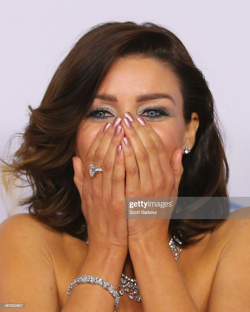 <a gi-track='captionPersonalityLinkClicked' href=/galleries/search?phrase=Dannii+Minogue&family=editorial&specificpeople=201978 ng-click='$event.stopPropagation()'>Dannii Minogue</a> laughs as she arrives at the 2014 Logie Awards at Crown Palladium on April 27, 2014 in Melbourne, Australia.