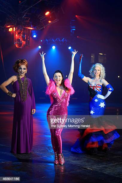 Dannii Minogue poses for a portrait with drag queens Bianca Del Rio and Courtney Act at the Royal Hall of Industries in Moore Park prior to Saturday...