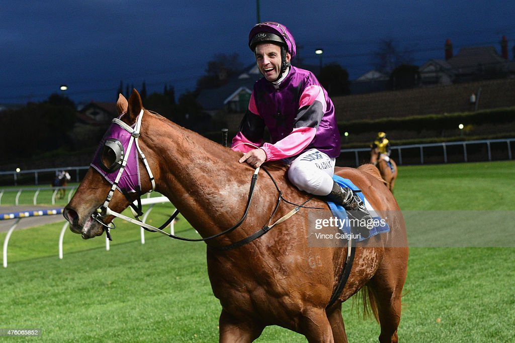 Danny Adam riding Our Nkwazi after winning Race 9 during Melbourne Racing at Moonee Valley Racecourse on June 6, 2015 in Melbourne, Australia.
