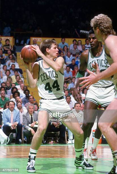 Danny Ainge of the Boston Celtics comes down with a rebound during an NBA basketball game circa 1986 at the Boston Garden in Boston Massachusetts...