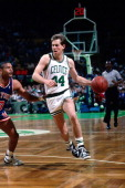 Danny Ainge of the Boston Celtics dribbles against the New York Knicks during a game circa 1988 at the Boston Garden in Boston Massachusetts NOTE TO...