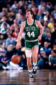 Danny Ainge of the Boston Celtics dribbles against the Sacramento Kings on December 29 1986 at Arco Arena in Sacramento California NOTE TO USER User...