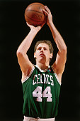 Danny Ainge of the Boston Celtics shoots a foul shot against the Washington Bullets circa 1986 at the Capitol Center in Landover Maryland NOTE TO...
