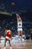 Danny Ainge of the Boston Celtics shoots against the Atlanta Hawks during a game circa 1988 at the Boston Garden in Boston Massachusetts NOTE TO USER...