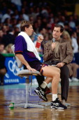 Danny Ainge of the Phoenix Suns gets interviewed before a game against the Boston Celtics circa 1995 at the Boston Garden in Boston Massachusetts...