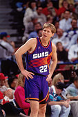 Danny Ainge of the Phoenix Suns looks on against the Sacramento Kings circa 1993 at Arco Arena in Sacramento California NOTE TO USER User expressly...