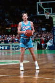 Danny Ainge of the Sacramento Kings stands against the Boston Celtics during a game played in 1990 at the Boston Garden in Boston Massachusetts NOTE...