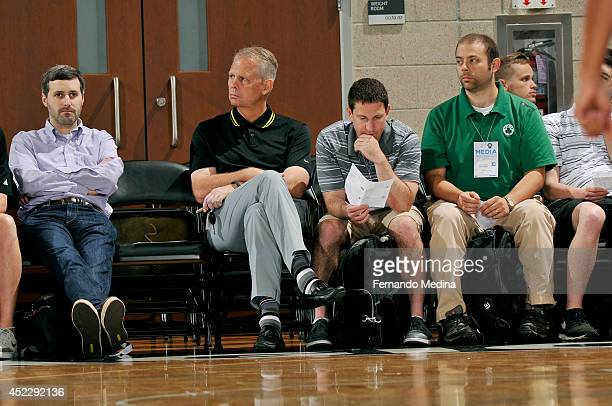 Danny Ainge President of Basketball Operations for the Boston Celtics attends a game with the Brooklyn Nets against the Indiana Pacers during the...