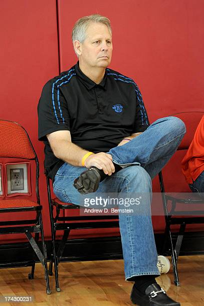 Danny Ainge watches the USA Basketball Men's National Team practice at Training Camp at the Mendenhall Center on July 23 in Las Vegas Nevada NOTE TO...