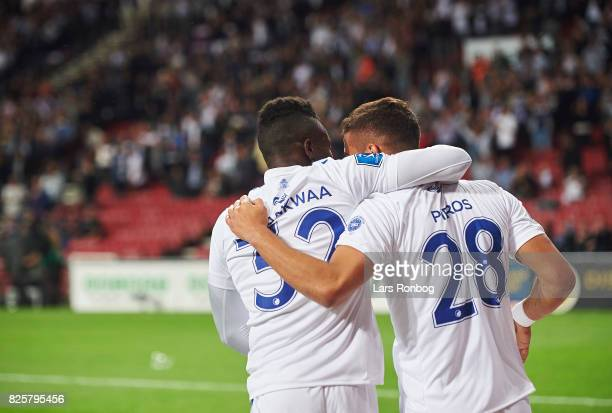 Danny Amankwaa and Pieros Sotiriou of FC Copenhagen celebrate after scoring their fourth goal during the UEFA Champions League Qualification 3rd...