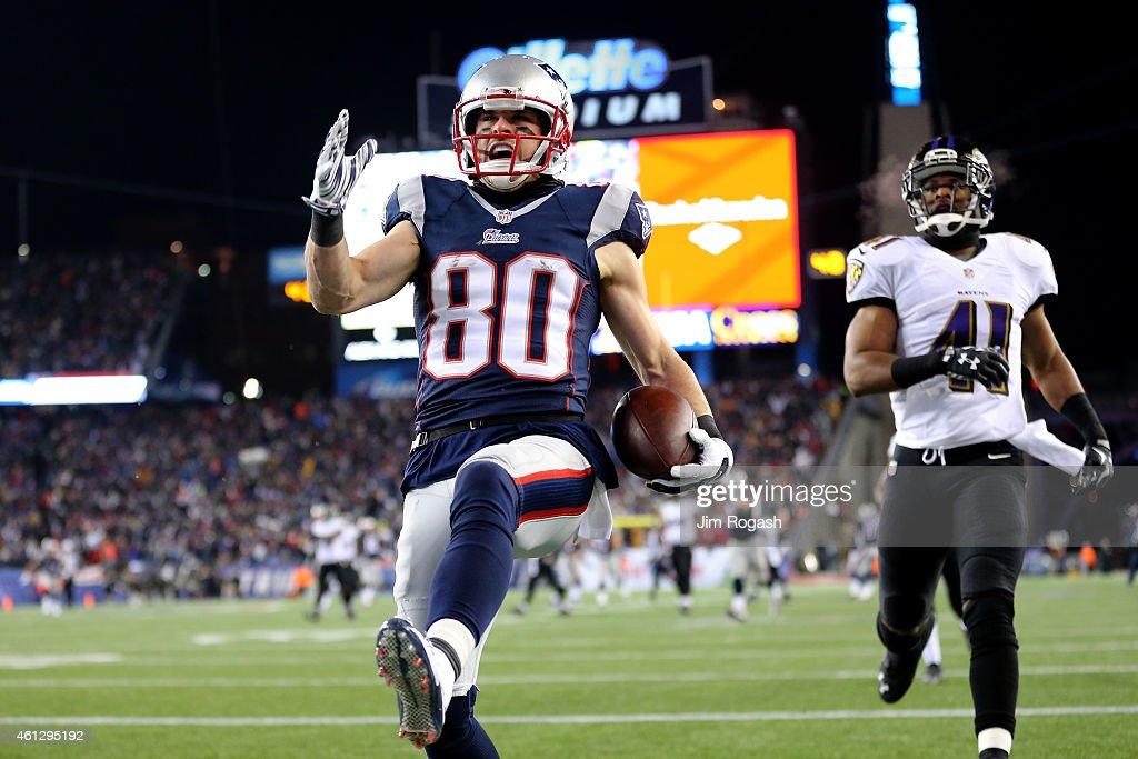 <a gi-track='captionPersonalityLinkClicked' href=/galleries/search?phrase=Danny+Amendola&family=editorial&specificpeople=2194309 ng-click='$event.stopPropagation()'>Danny Amendola</a> #80 of the New England Patriots scores a touchdown in the third quarter against the Baltimore Ravens during the 2015 AFC Divisional Playoffs game at Gillette Stadium on January 10, 2015 in Foxboro, Massachusetts.