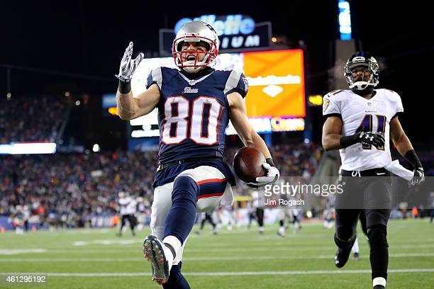 Danny Amendola of the New England Patriots scores a touchdown in the third quarter against the Baltimore Ravens during the 2015 AFC Divisional...