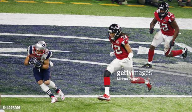 Danny Amendola of the New England Patriots scores on a 6yard touchdown reception during Super Bowl 51 against the Atlanta Falcons at NRG Stadium on...