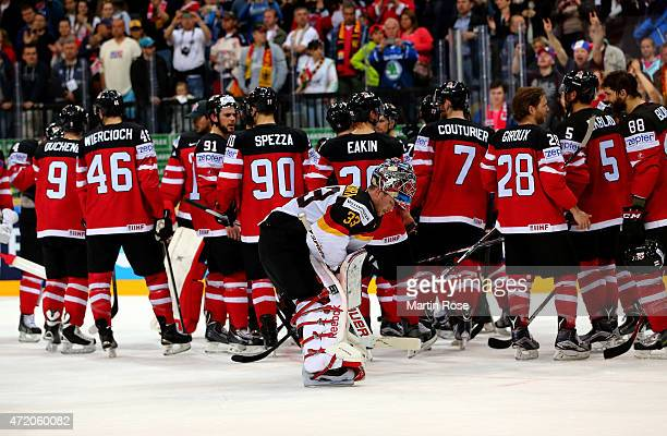 Danny aus den Birken goaltender of Germany looks dejected after the IIHF World Championship group A match between Canada and Germany on May 3 2015 in...