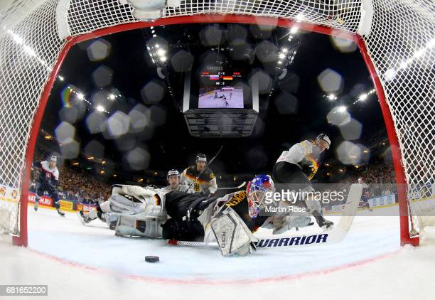 Danny aus den Birken goaltender of Germany makes a save during the 2017 IIHF Ice Hockey World Championship game between Slovakia and Germany at...