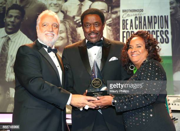 Danny Bakewell Sr honoree Jim Hill and Charisse BeamondWeaver attend the 49th Annual Pioneer of African American Achievement Award dinner at The...