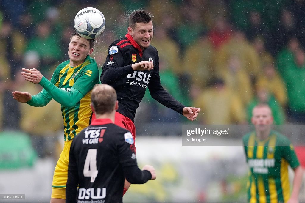 Danny Bakker of ADO Den Haag, Luigi Bruins of Excelsior Rotterdam during the Dutch Eredivisie match between Excelsior Rotterdam and ADO Den Haag at Woudenstein stadium on February 14, 2016 in Rotterdam, The Netherlands