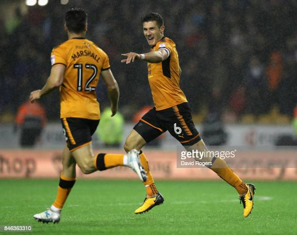 Danny Batth celebrates after scoring their third goal during the Sky Bet Championship match between Wolverhampton and Bristol City at Molineux on...