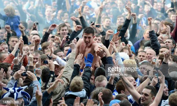 Danny Batth of Sheffield Wednesday celebrates with fans after winning the Npower League One match between Sheffield Wednesday and Wycombe Wanderers...