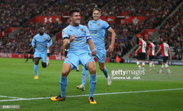 Danny Batth of Wolverhampton Wanderers celebrates after he scores to make it 01 during the Carabao Cup Second Round match between Southampton and...