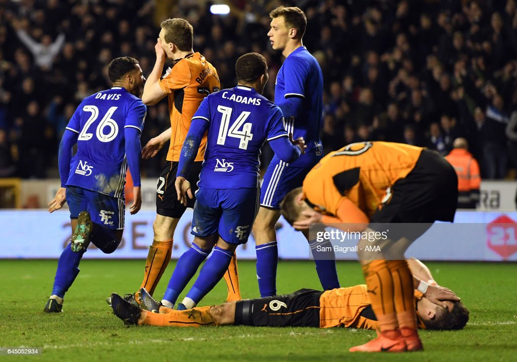 Danny Batth of Wolverhampton Wanderers lies dejected at full time during the Sky Bet Championship match between Wolverhampton Wanderers and Birmingham City at Molineux on February 24, 2017 in Wolverhampton, England.