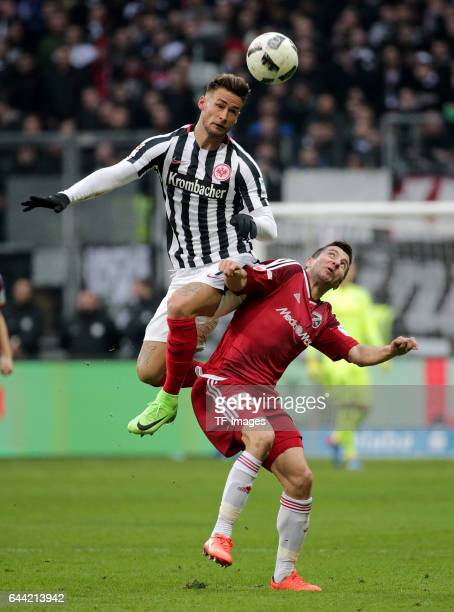 Danny Blum of Frankfurt and Markus Suttner of Ingolstadt battle for the ball during the Bundesliga match between Eintracht Frankfurt and FC...
