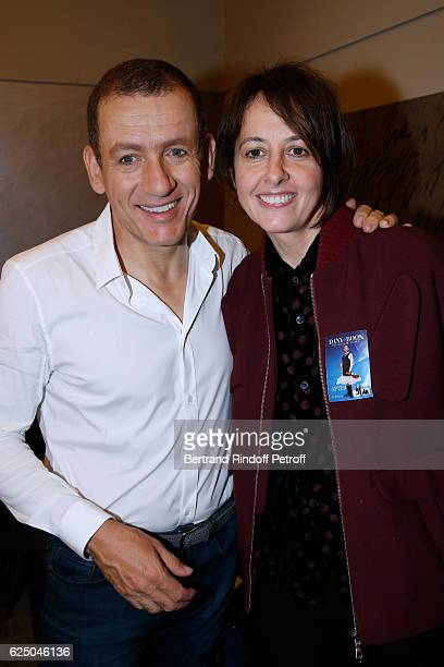 Danny Boon and actress Valerie Bonneton pose Backstage after the 'Dany De Boon Des HautsDeFrance' Show at L'Olympia on November 9 2016 in Paris France