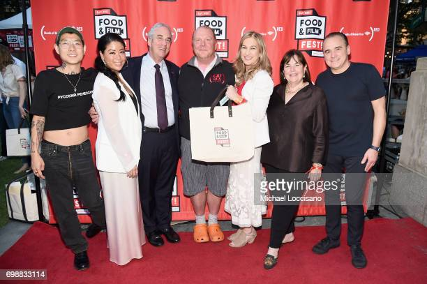 Danny Bowien Angie Mar Jeff Barker Mario Batali Deb Dugan Ina Garten and Jean Georges Vongerichten arrive at EAT Food Film Fest at Bryant Park on...