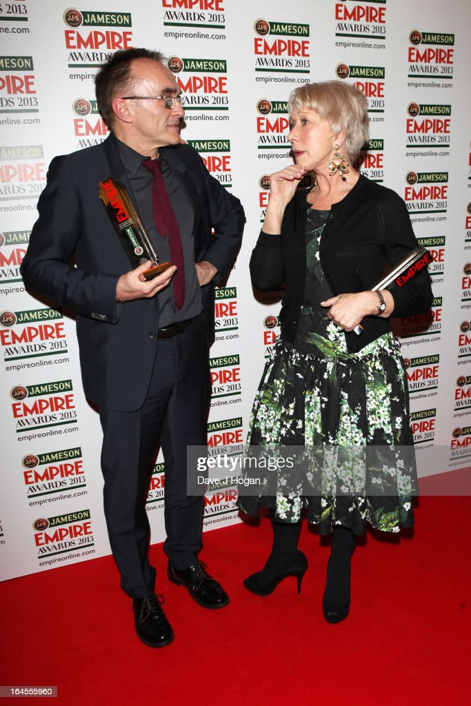 Danny Boyle and Dame Helen Mirren pose with their awards in the press room at the Jameson Empire Awards 2013 at Grosvenor House Hotel on March 24, 2013 in London, England.