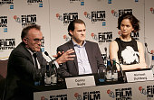 Danny Boyle Michael Stuhlbarg and Katherine Waterston attend the 'Steve Jobs' Press Conference during the BFI London Film Festival at the Mayfair...