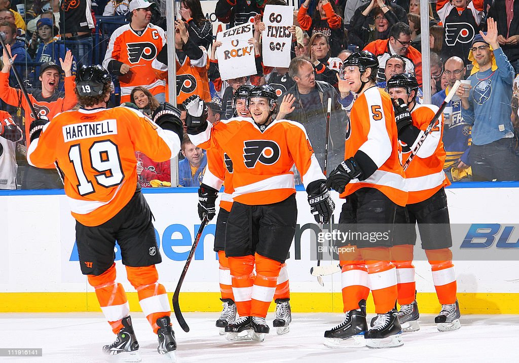 Danny Brier #48 of the Philadelphia Flyers celebrates a second period goal with <a gi-track='captionPersonalityLinkClicked' href=/galleries/search?phrase=Scott+Hartnell&family=editorial&specificpeople=201889 ng-click='$event.stopPropagation()'>Scott Hartnell</a> #19 during a game against the Buffalo Sabres at HSBC Arena on March 8, 2011 in Buffalo, New York.