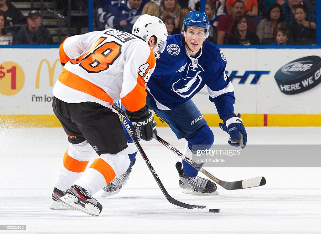 Danny Briere #48 of the Philadelphia Flyers and Keith Aulie #3 of the Tampa Bay Lightning battle for the puck during the first period of an NHL game at the Tampa Bay Times Forum on January 27, 2013 in Tampa, Florida.