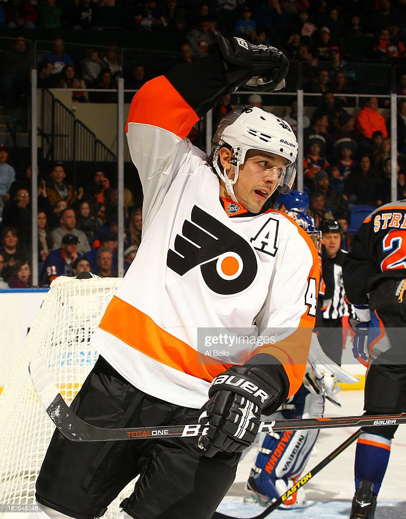 Danny Briere #48 of the Philadelphia Flyers celebrates a goal against the New York Islanders during their game at Nassau Veterans Memorial Coliseum on February 18, 2013 in Uniondale, New York.