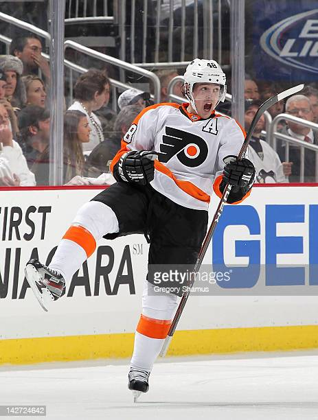 Danny Briere of the Philadelphia Flyers reacts after his third period goal against the Pittsburgh Penguins in Game One of the Eastern Conference...