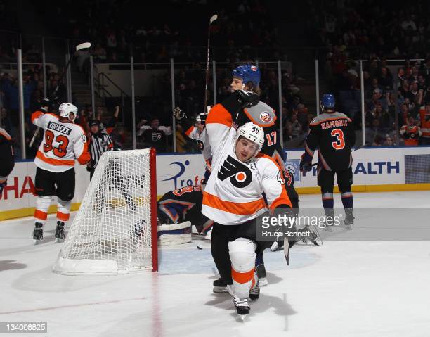 Danny Briere of the Philadelphia Flyers scores to tie the score at 33 at 1418 of the third period against the New York Islanders at the Nassau...